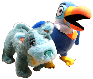 Schnuppe and Tuk plush puppets